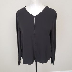 Eileen Fisher Silk Georgette Crepe Jacket Medium